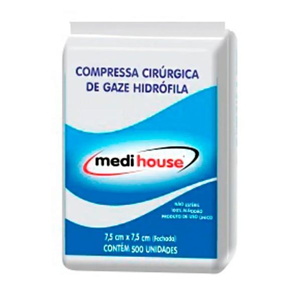 Compressa Cirúrgica de Gaze Hidrofíla MEDI HOUSE 11 fios/cm² com 500 unidades
