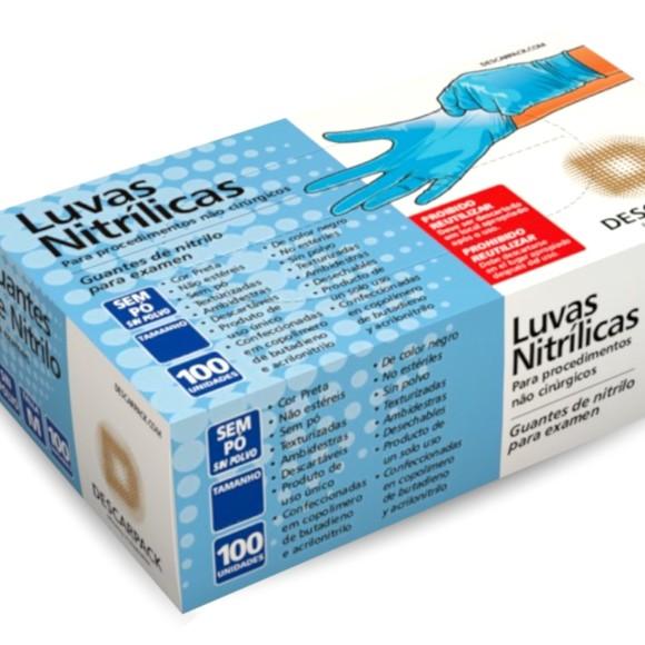 Luva De Procedimento Nitrílica Azul Sem Talco -  Descarpack